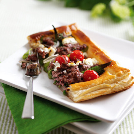 Welsh Lamb, Tomato, Basil and Goats Cheese Tart
