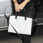 Selena Gomez's black & white Michael Kors tote