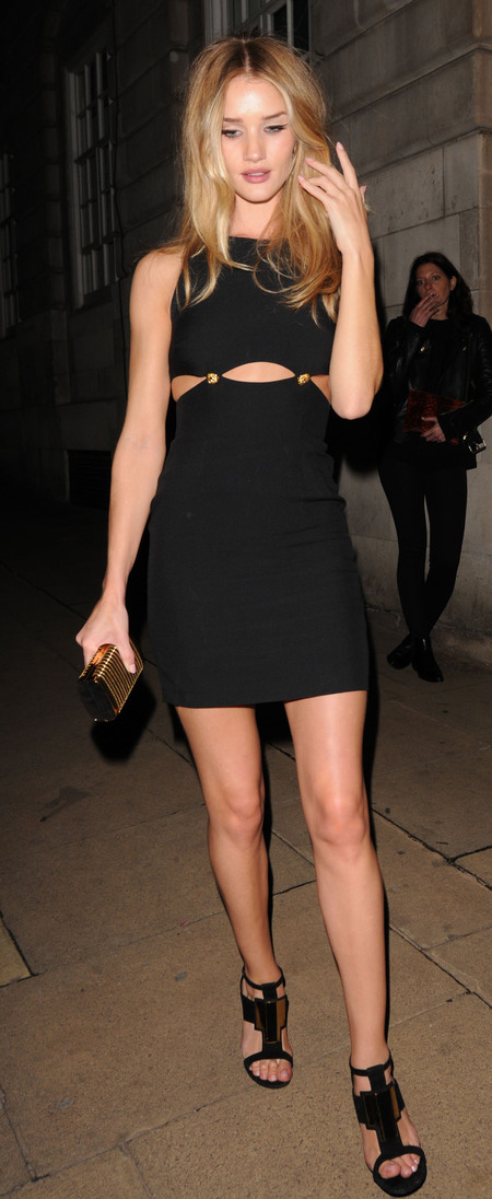 Rosie Huntington Whiteley on a night out in London in little black dress