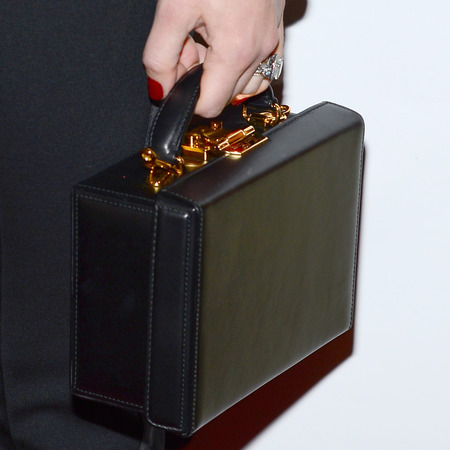 Jessica Biel Mark Cross Grace Leather Box Bag, briefcase