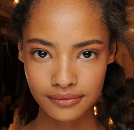 malaika firth at giles deacon - london fashion week spring summer 2014 - ss14 sports luxe beauty trends - barely there makeup - handbag.com