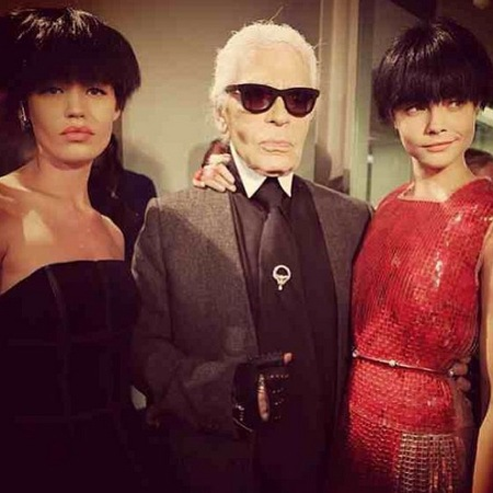 Cara Delevingne, Georgia Jagger, Karl Lagerfeld at Fendi Milan Fashion Week SS14