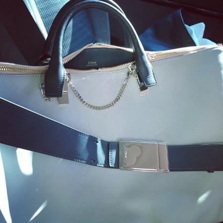 Lindsey Wixson Chloe handbag at PFW SS14