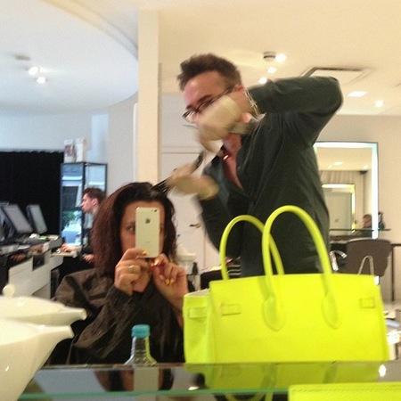 Lily Allen black bob hairstyle, hair dye, hairdressers, yellow handbag