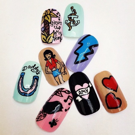 WAH Nails Amy Winehouse tribute nail art