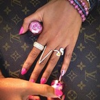 Beyonce and Cheryl Cole's pink nails for Breast Cancer