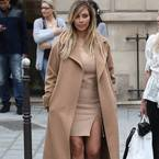 Kim Kardashian's camel coat at Paris Fashion Week