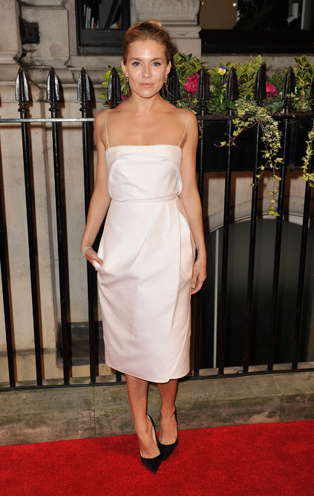 Sienna Miller in strapless white dress