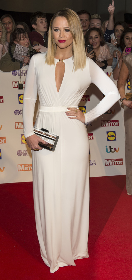 Kimberley Walsh in floor length dress