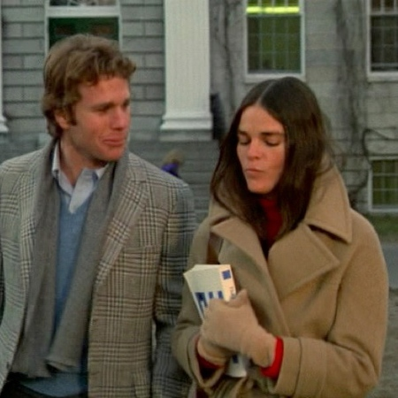 Ali MacGraw + LOVE STORY + camel coat and red jumper - knitwear in films - handbagcom