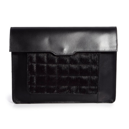ASOS leather and faux pony skin clutch bag