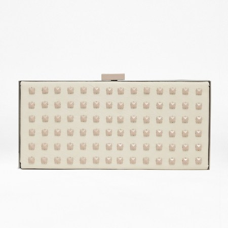 French Connection white beaded box clutch bag