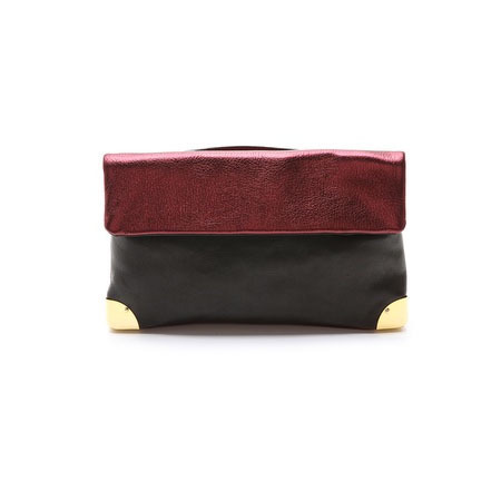Golden Lane red and black metallic clutch bag