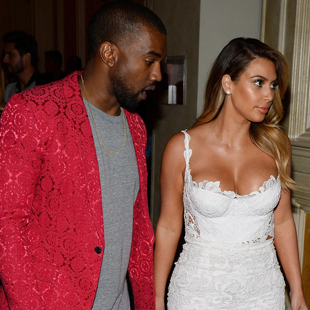 kim kardashian white lace dress - birthday party - kanye west red blazer jacket - handbag.com