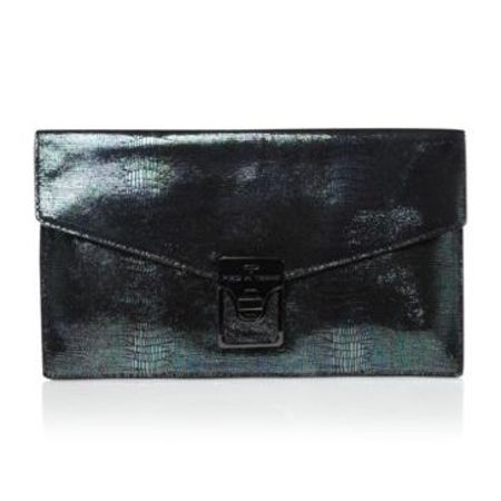 Pied A Terre black metallic leather clutch bag