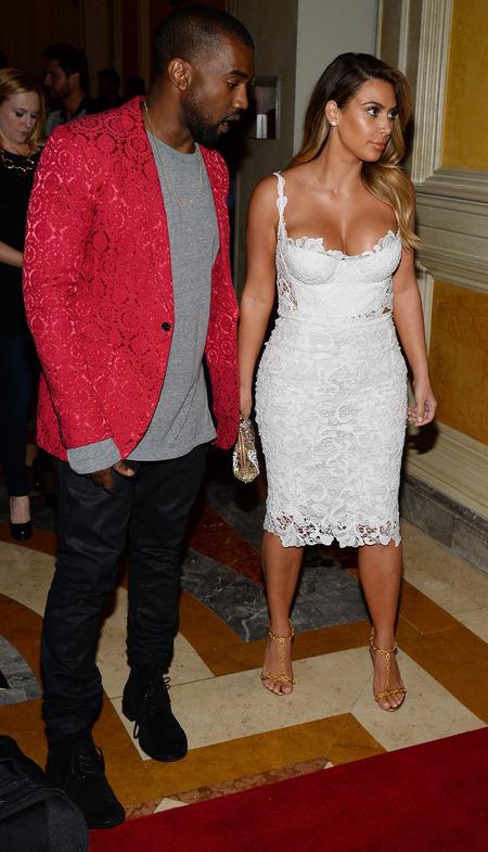 kim kardashian white lace dress - birthday party - kanye west red blazer jacket - handbag.com