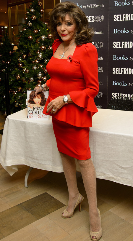 joan collins autobiography - red dress - book signing - handbag.com