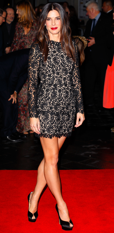 Sandra Bullock - red lipstick lace black dress - gravity premiere - handbag.com