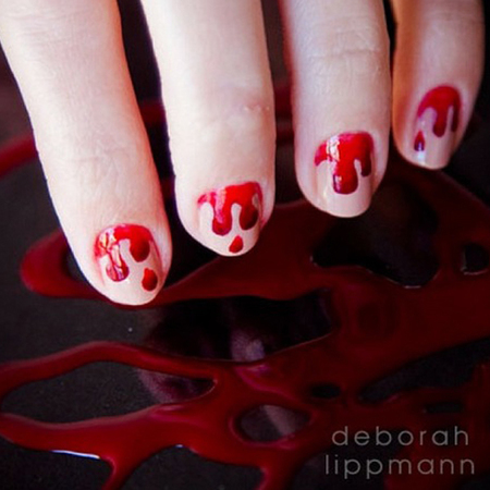 Want to wear this Halloween gore on your fingernails? Here's how to recreate the Deborah Lippmann bloody mani