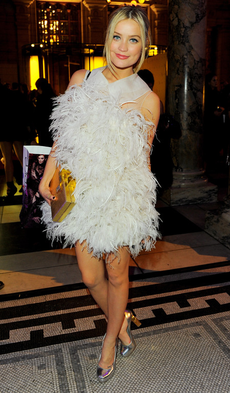 laura whitmore - white feather dress - wgsn global fashion awards 2013 - handbag.com
