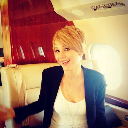 Jennifer Lawrence - new short hair - pixie crop - facebook picture - handbag.com