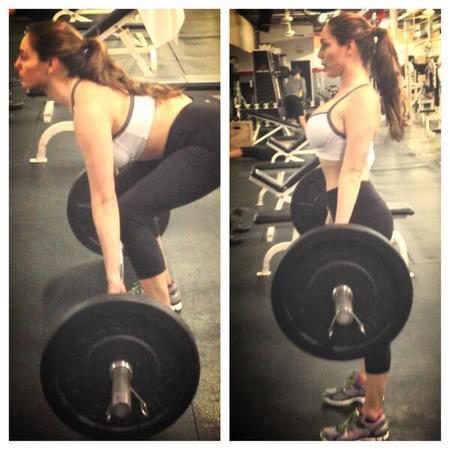 Kelly Brook dead lifts