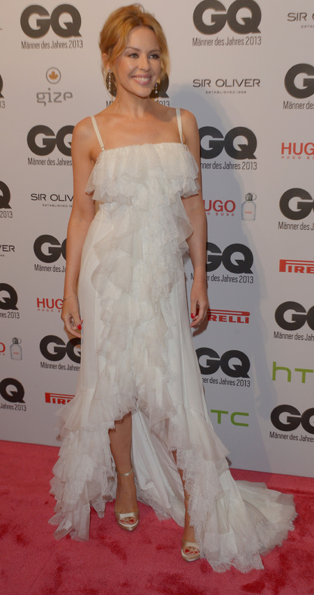 kylie minogue - GQ Men of hte year awards 2013 Germany - white dress - handbag.com