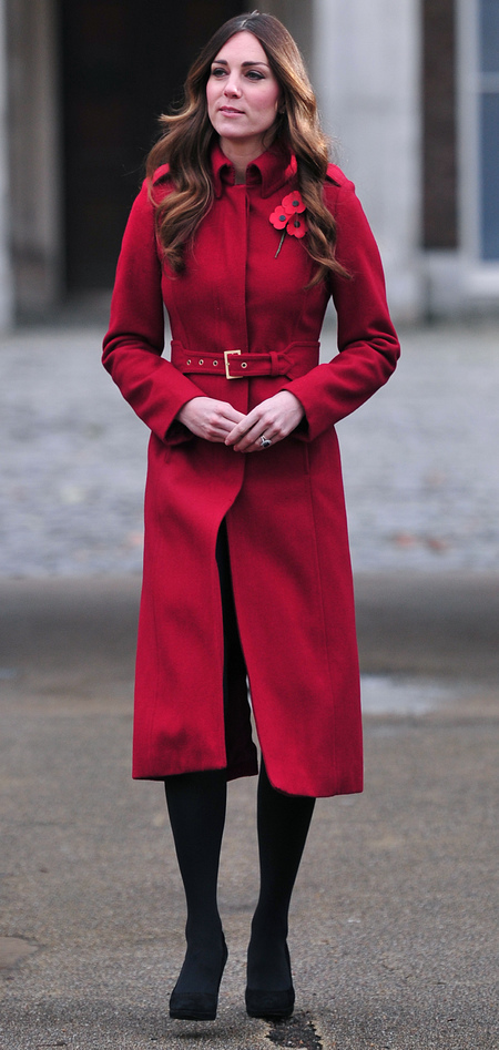 kate middleton - red lk bennett coat - poppy day apeal 2013 - kensington palace - handbag.com