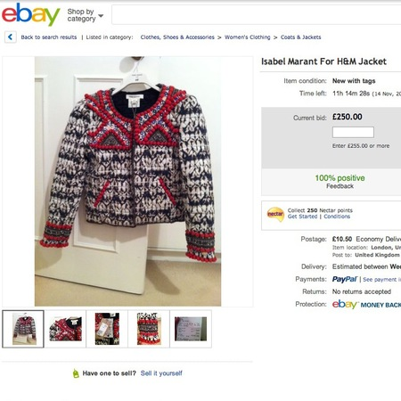 isabel marant for h&m beaded jacket - selling on ebay - november 2013 - handbag.com
