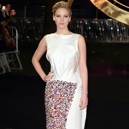 jennifer lawrence - white sequin Dior dress - hunger games catching fire - london premiere 2013 - handbag.com