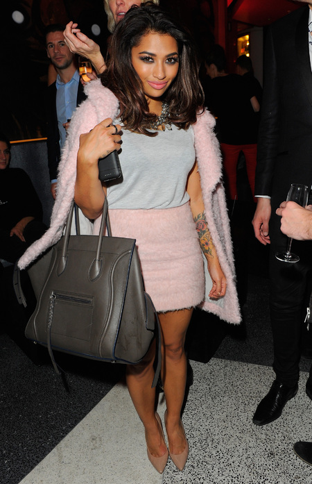 Vanessa White - The Saturdays - celine handbag - celebrity bags - sushi samba party - handbag.com