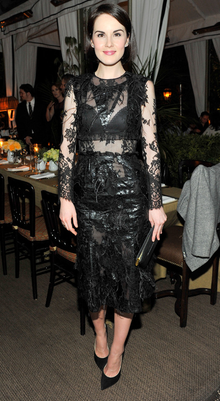michelle dockery downton abbey actress - black lace dress - celebrity gothic trend - handbag.com