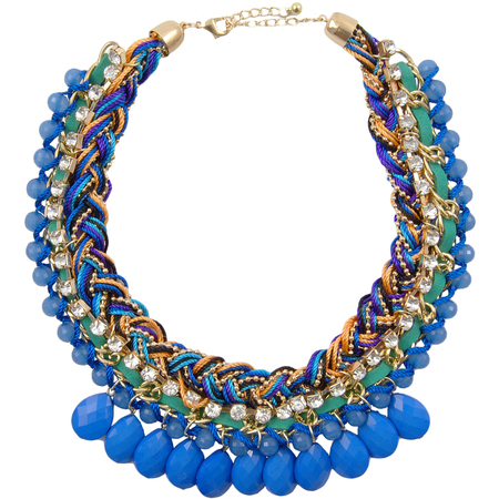 www.chelseadoll.co.uk - Safara Cobalt Blue Plaited Crystal & Bead Necklace - £15 - christmas gift ideas - under £20 - handbag.com