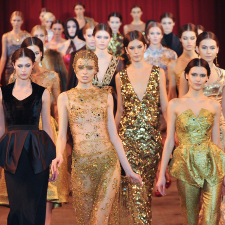 Christian Siriano catwalk show - autumn winter 2013 - gold sequin and glitter dresses - handbag.com
