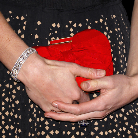 Kate Middleton - Sports Aid ball - alexander mcqueen - red clutch bag - close up - handbag.com