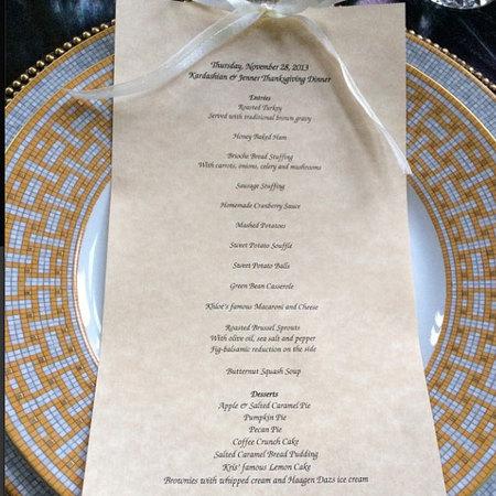 Kris Jenner Thanksgiving menu - food and drink news - handbag.com