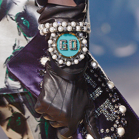 lanvin clutch bag and glittery accessories - go bracelet wrist cuff - autumn winter 2013 runway - handbag.com