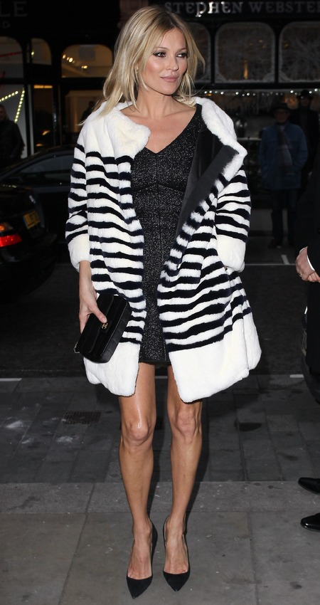 Kate Moss - Little black dress and fur coat - winter party looks - celebrity fashion - news - red carpet - handbag.com