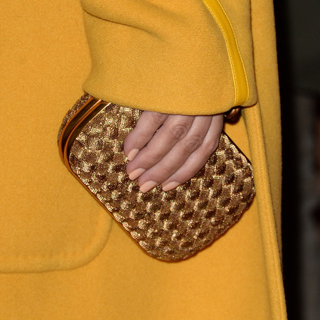 Kim Kardashian - Hollywood Reporter Party - all gold outfit - bottega Veneta woven clutch bag - handbag  - handbag.com