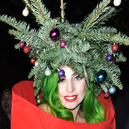 lady gaga christmas tree hat - green christmas hair - christmas party hairstyle ideas - handbag.com