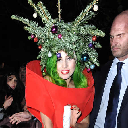 lady gaga christmas tree hat - green christmas hair - christmas party hairstyle ideas - handbag.com