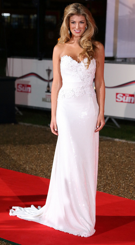 Amy Willerton in lace detail dress