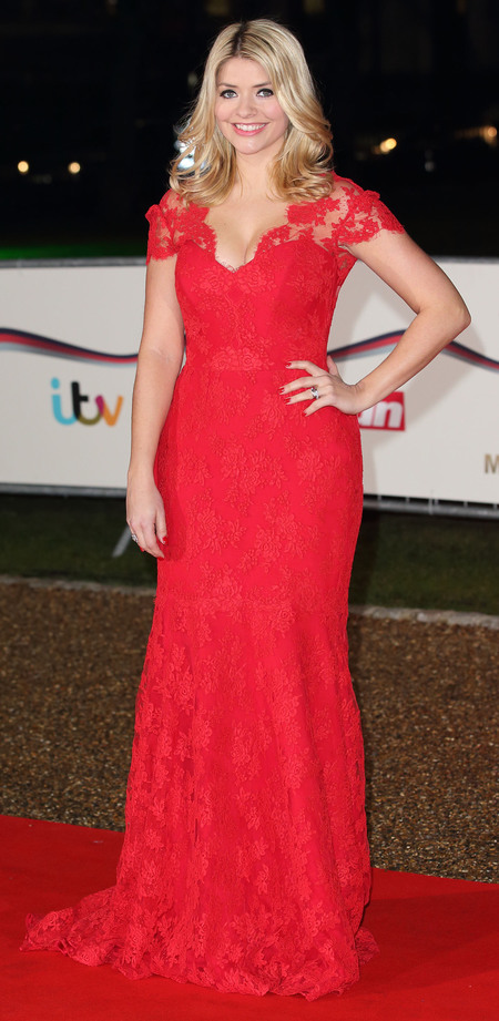 Holly Willoughby wows in red lace dress
