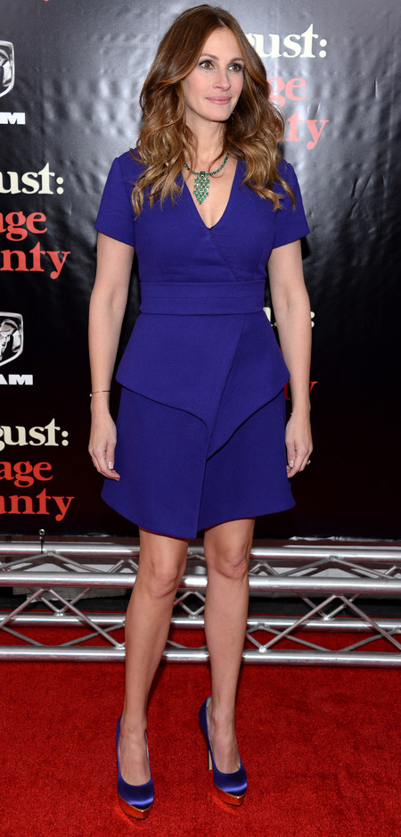 julia roberts proenza schouler blue dress - the new lbd trend - celebrity blue dresses - handbag.com