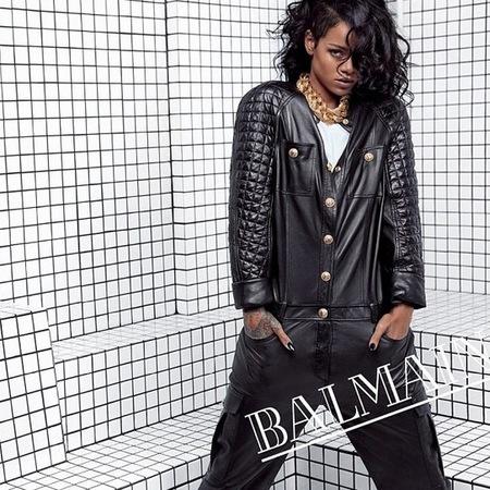 rihanna for balmain - spring summer 2014 ad campaign - rihanna designer style - black leather onesie - handbag.com