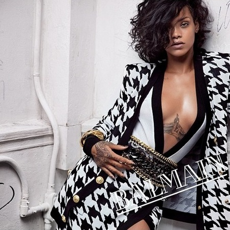 rihanna for balmain - spring summer 2014 ad campaign - rihanna designer style - black and white check blazer - handbag.com