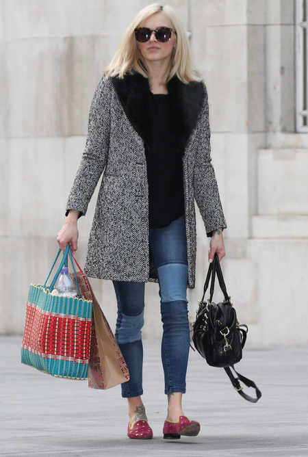 Fearne Cotton in patchwork jeans