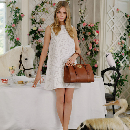 cara delevingne mulberry ss14 campaign - oak brown double zip bayswater handbag - white lace dress - handbag.com