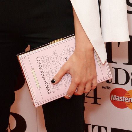 laura whitmore at brits awards nominations 2014 - kate spade box clutch - celebrity handbag trends - handbag.com