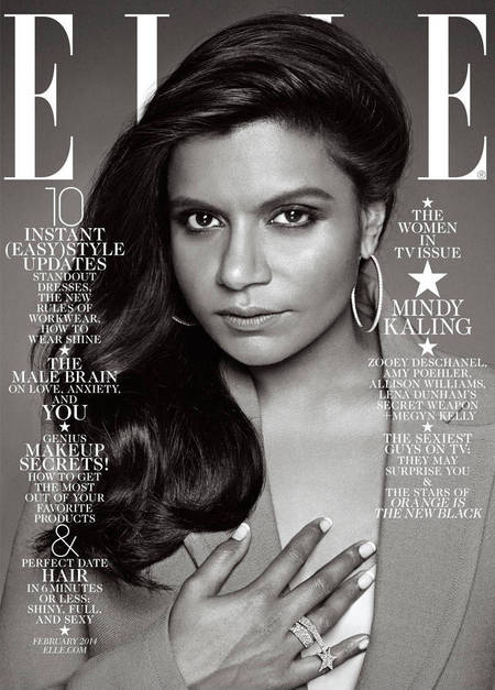 Mindy Kaling Elle US magazine cover - black and white images - accusations of racism - life news